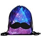 Shybuy Non-Woven Drawstring Bag Stylish Printed Lightweight Gym Sackpack Yoga Gym Swimming Cinch Pack (D, 11.8(L) x0.8(W) x15.4(H)'')