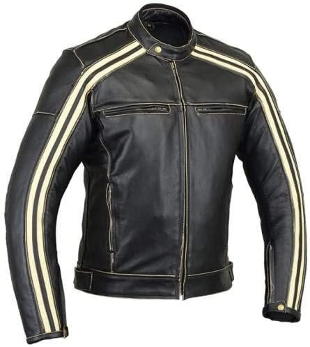 Bikers Gear Australia Classic Retro Style 'The Bonnie' Cowhide Leather Motorcycle Jacket with CE1621-1 Removable Armour - Ivory stripe 2XL