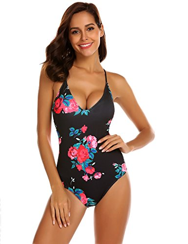 Ekouaer Womens One Piece Swimwear Backless Tummy Control Monokini Swimsuits,6043-rose Print,L (fit US 10 - 12)