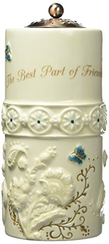 Pavilion Gift Company Perfectly Paisley Friendship Ceramic Tea Light Candle Holder, 6-Inch Cylinder, Incudes Lid