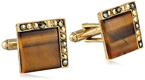 1928 Jewelry Unisex Gold Tone Tigers Eye Square Cuff Links