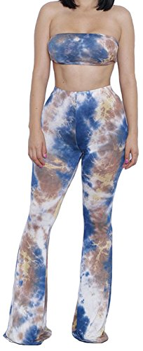 Happy Cool Women's Tie Dye Print Bandeau Top Flared Bell Bottom Pants Outfits Navy/Brown M