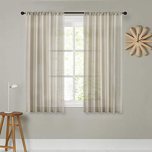MRTREES Sheer Tier Curtains Beige Kitchen Curtains 45 inch Length Sheers Bathroom Small Window Short Cafe Curtains 2 Panels Rod Pocket Bedroom Solid Voile Curtain Panels (Inch Sheer 45 Curtains)