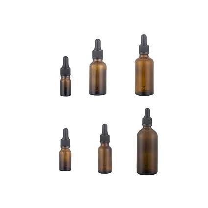 6pcs Botellas de aceites Esenciales prácticos Multiuso Brown Recargable de Vidrio con gotero de Vidrio con
