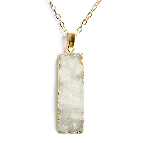 Me&Hz White Crystal Druzy Agate Necklace Gold Bar Pendant Wedding Bridesmaid Necklaces Gifts for Women