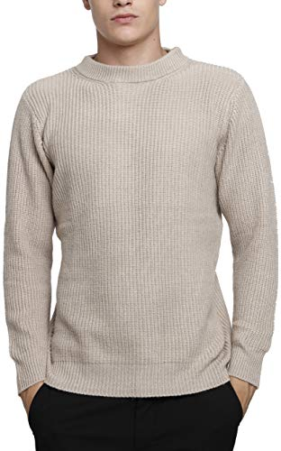 Liny Xin Men's Winter Cashmere Knitted Casual Crew Neck Long Sleeve Loose Wool Pullover Sweater Tops (M, Tan)