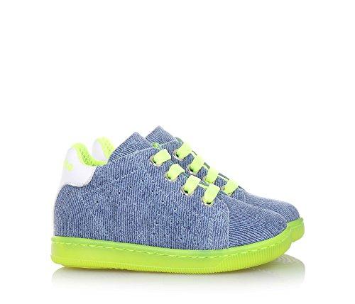 b74e0e6aca34d FALCOTTO Blauer Schuh mit Schnürsenkeln aus Stoff, leuchtend gelbe ...