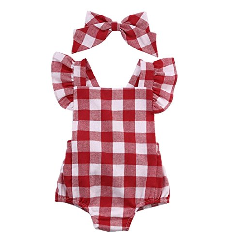 Sumen Newborn Girls Cotton Romper Ruffles Sleeveless Plaids Checks Jumpsuit Outfit Set (6/12M, Red)