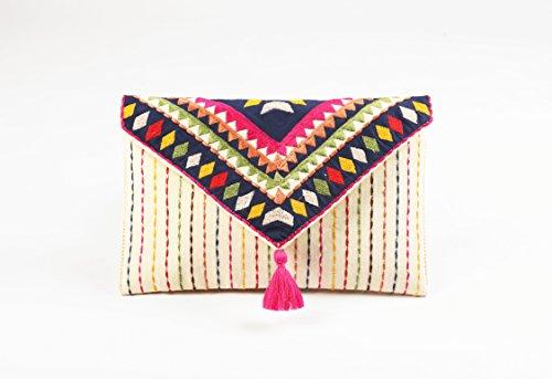 Tribal Tasche, Umschlag Kupplung, Off Weiß Farbe, Foldover Clutch, Bohemian, Mehrfarbig, bestickt, 15,2x 22,9cm