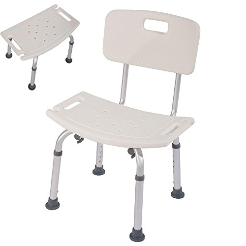 Mefeir Medical Shower Bath Chair Seat with Removable Back,7 Adjustable Height Bathtub Bathroom Bench LightWeight