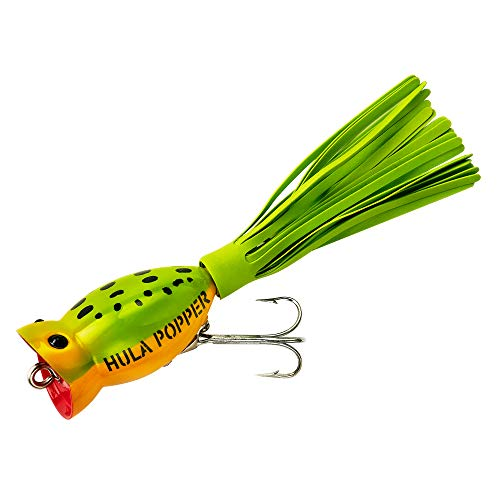 - Arbogast Hula Popper Fishing Lure, Frog Yellow Belly and Chartreuse Skirt, 1 3/4-Inch