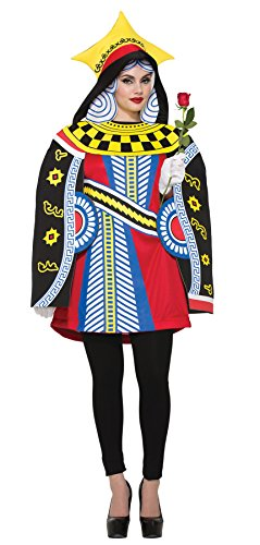 [UHC Women's Queen Of Hearts Playing Card Fancy Dress Adult Halloween Costume, OS (8-12)] (Plus Size Queen Of Hearts)