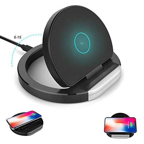 Wireless Charger,Kamlif iPhone X Wireless Charger Qi 10W Fast Wireless Charger Charging Pad Stand for iPhone X,iPhone 8/8 Plus,Samsung Galaxy S9 S9 Plus Note 8 S8 S8 Plus S7 S7 Edge [No AC Adapter]