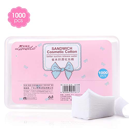 Nail Polish Remover Pads, Facial Eye nail Make Up Wipes, Square Cosmetic Cotton Pads, Non-woven Thin Cotton Pads For Make Up Cleaning and Skin Care (1000pieces) ()