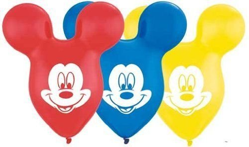 LoonBalloon MICKEY MOUSE Head EARS Face RED Yellow PINK Purple BLUE 25 Party Latex Balloons ()