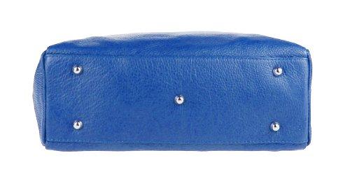 Con Borsa Italy Manici Royal Cm I Made 40x28x11 Vera A Tracolla Tutti Pelle Blue Giorni Obc Shopper In qX0wEES8