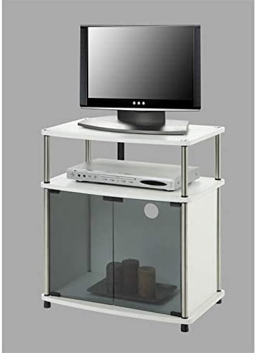 Pemberly Row 25 TV Stand with Glass Doors in White