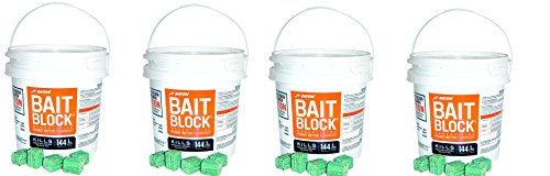 JT Eaton 709-PN Bait Block Rodenticide Anticoagulant Bait, Peanut Butter Flavor, For Mice and Rats (Pail of 144) (4 Pails of 144) by J T Eaton