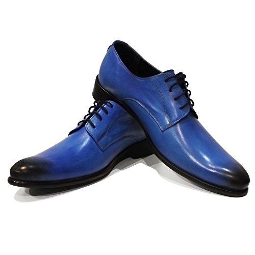 la de Cuir Main Cuir Oxfords Cuir des Blito à Hommes Modello pour Peint Vachette Chaussures Handmade Italiennes Bleu Lacer TqawntxP4