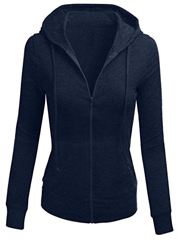 (TL Women's Solid Warm Thin Thermal Knitted Casual Zip-Up Hoodie Jacket (SMALL, COTTON_NAVY))