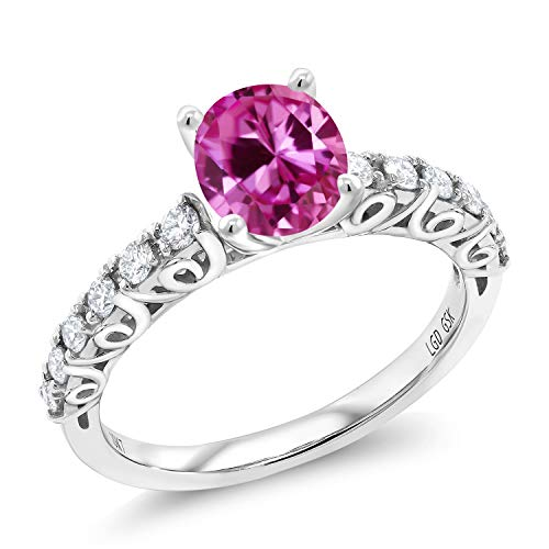 (1.95 Ct Oval Pink Created Sapphire G/H Lab Grown Diamond 10K White Gold Ring (Size 6))