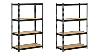 "Edsal UR364AZ-BLK Steel Storage Rack, 4 Adjustable Shelves with Post Couplers and Plastic End Caps, 3200 lb. Capacity, 60"" Height x 36"" Width x 18"" Depth, Black (Pack of 2)"