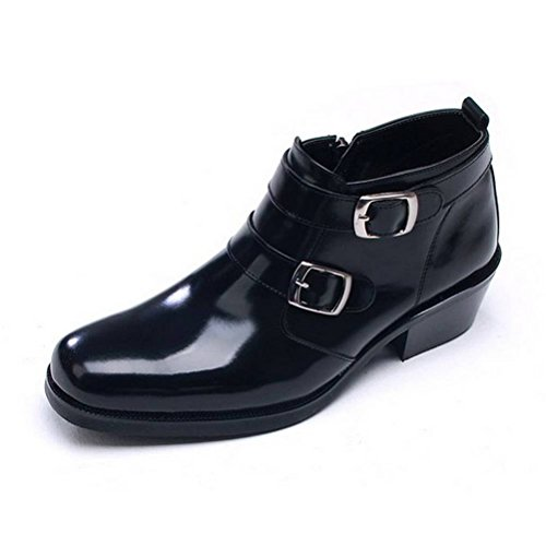 Black Genuine Leather Dress Zip Formal Casual Ankle Men's Boots Shoes EpicStep xwqFPv7Y
