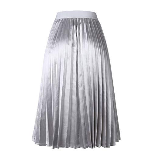 Womens Pleated Elegant Elastic Waist Midi Chiffon Skirt Ladies Long Swing Skirt
