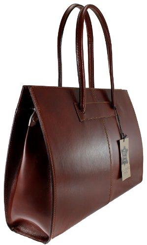 véritable 100 porte avec Fabriqué professionnels cuir Sac poignées en femmes documents MC 40x30x12cm pour Brun Italie de qwR4g