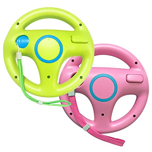 Jadebones 2 Pack Mario Kart Racing Steering Wheel with Wrist Strap for Nintendo Wii Remote Controller (Pink+Green)