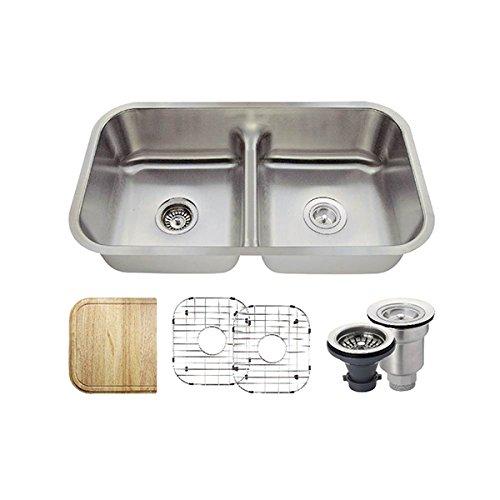 512 16 Gauge Stainless Steel Kitchen Ensemble Bundle – 6 Items Sink, Basket Strainer, Standard Strainer, 2 Sink Grids, and Cutting Board