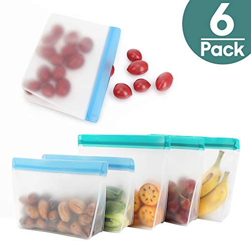 Reusable Storage Bags, Snack Bags Ziplock Sandwich Bag, TYRY.HU Airtight Leakproof PEVA Freezer Bags Containers For Food, Lunch, Fruit, Cereal, Vegetable, Liquid, Meat, Eco-Friendly & Bpa Free