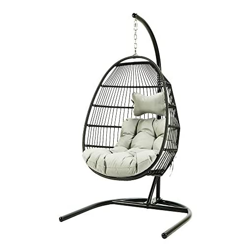 Gheda Patio Hanging Egg Chair With Stand Single Swing Chair Basket Swinging Chaise Lounge Chair Rattan Wicker Hammock Chair With Cushion For Indoor Outdoor Home Bedroom Backyard Balcony Porch Beige Beachfront Decor