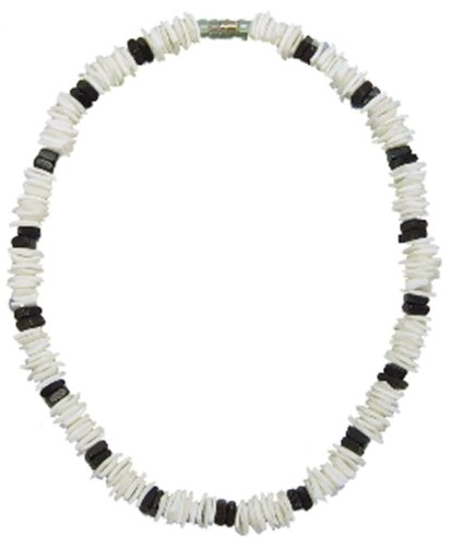White White Shells Necklace - Native Treasure 18 inch Kids White Chips Puka Shell Necklace with Black Chips Accents