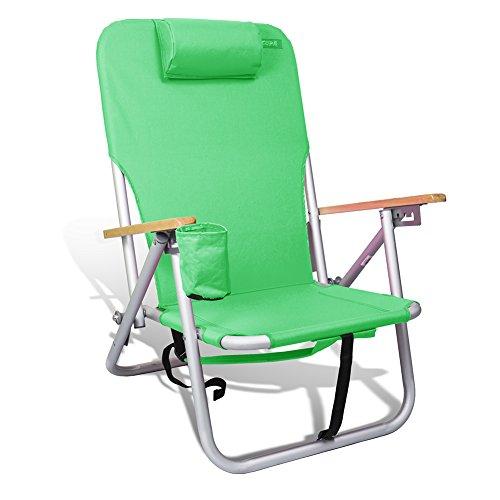 copa Beach & Camping Lightweight Aluminum Outdoor Sturdy Backpack Chair 4 Position (Green)