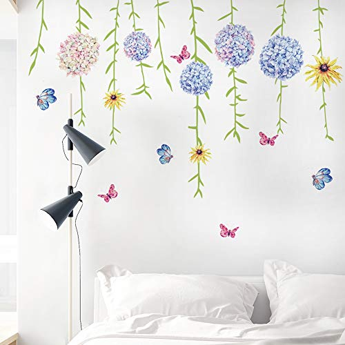 DKTIE Flower Wall Decals for Living Room Flowers Decorations for Wall Stickers for Bedroom Living Room Removale Art Decal