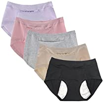 Sept.Filles Womens Invisible Panties Cycles-Period Leakproof Packs of 5 (Black+Boby Color+Purple)