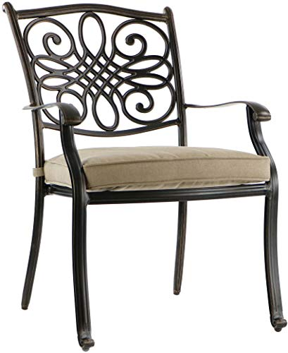 """Hanover TRADITIONS7PCSW, 4 Stationary, 2 Swivel Rocker Chairs, and 38""""x72"""" R Traditions 7-Piece Cast Aluminum Outdoor Patio Dining Set, Bronze Frame, Tan - Durable, weather-resistant set has 4 deep-cushioned dining chairs, 2 deep-cushioned swivel-rockers with 360-degree spin. Blended extruded-aluminum and decorative-cast components with hand-applied multiple-coat finish remains rust-free for the lifetime of the furniture Deep seat cushions for optimum comfort are quick-drying, stain-resistant, UV protected and maintain their original shape - patio-furniture, dining-sets-patio-funiture, patio - 41SbO8klStL -"""