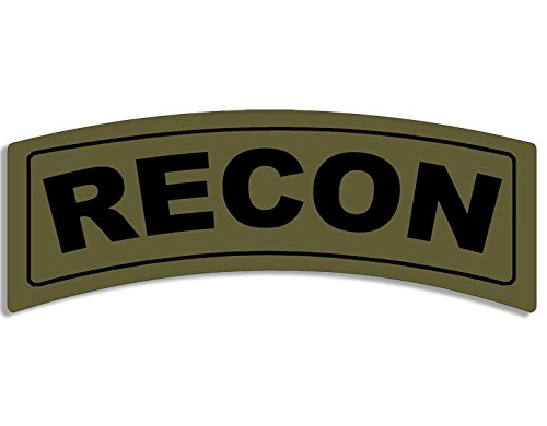 Green RECON Tab Shaped Sticker (army military)