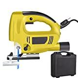 Kemanner Portable Top-handle Jig Saw Kit Corded-Electric Jigsaw Power Tool with Carry Case for Cutting, Variable Speed Control & Adjustable Cutting Angel & Dust Extraction Connector & Two Blades