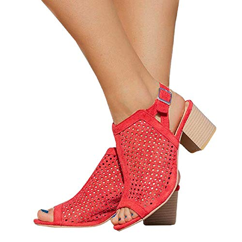 - Nailyhome Womens Perforated Peep Toe Booties Ankle Buckle Strap Chunky Low Heel Slingback Summer Boots Sandals