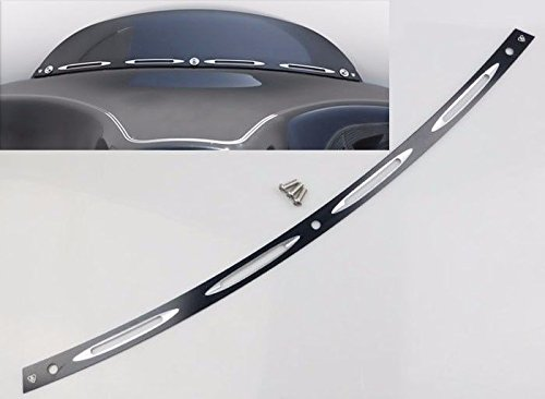 Black Deep Cut Beveled Windscreen Windshield Trim For 1996-2013 Harley Touring