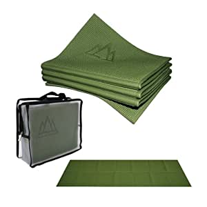 "Khataland YoFoMat - Best Travel Yoga Mat - Green, Extra Long 72"", 1/6"" Thick -Foldable to 12""x10""x3"", Eco Friendly, Free From Phthalates/Latex"