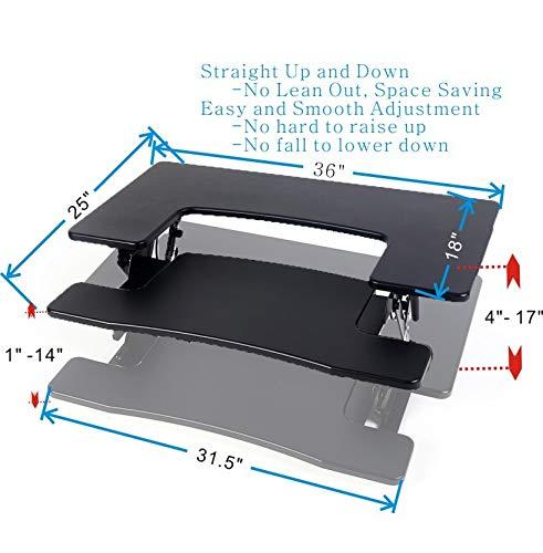 Standing Desk Converter for Home Office Desktop, 36 Assemble Sit StandUp Desk Converter Table Top Monitor Riser Fits Dual Monitors Black