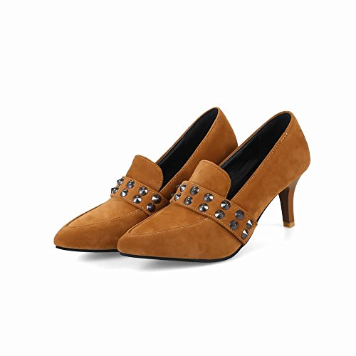 Toe Sexy Deep Yellow Spikes Shoes Carolbar Stilettos Pointed Womens Pumps Retro qCIEw1