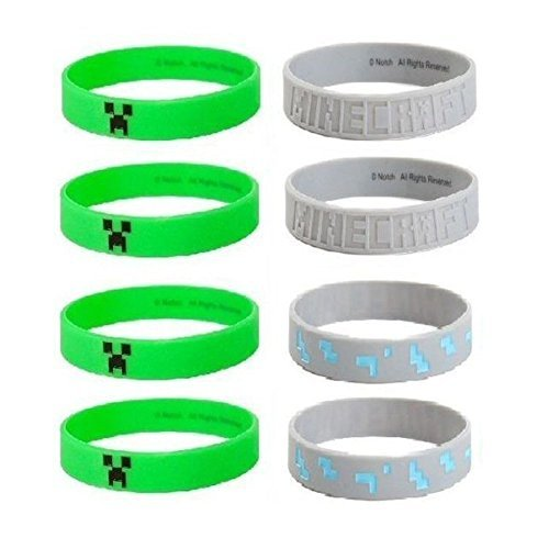 MINECRAFT Silicone Bracelet Lot 24 Bracelets Party Favors Creeper, Diamond Ore (Party Minecraft)