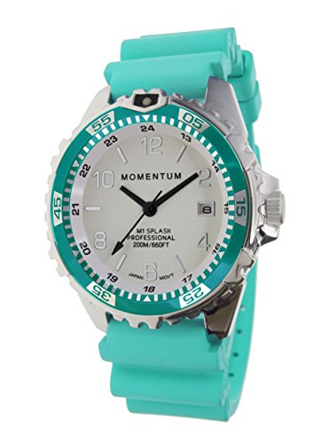Women's Quartz Watch | M1 Splash by Momentum| Stainless Steel Watches for Women | Dive Watch with Japanese Movement & Analog Display | Water Resistant ladies watch with Date - Lume / Aqua Rubber