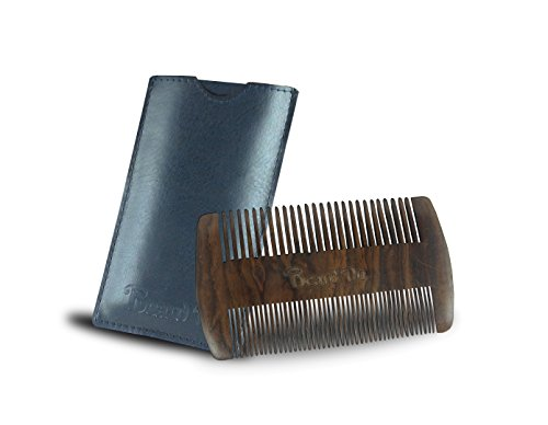 Dual Action Wooden Beard Comb & Case - Natural Black Sandalwood Anti-Static and Hypoallergenic Wood Pocket Comb - For Long and Short Beards & Mustaches with Fragrance Scent by BEARD - Cool Beards And Mustaches