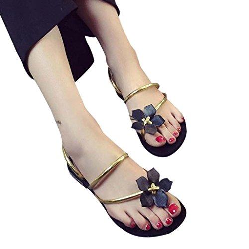 Clearance! Women Slippers,TurningPo Bohemia Lady Flower Weave Peep-Toe Flip Flops Slippers (8, - Polo Stock
