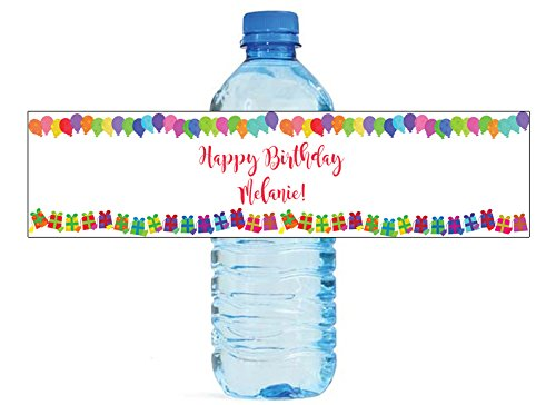 (Presents and Balloons Theme Birthday Party Water Bottle Labels)